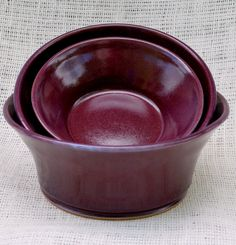 Set of Three Serving Bowls...color is beautiful.