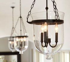 Pottery Barn Hundi Lantern - bell jar pendant - only 40 watt bulbs