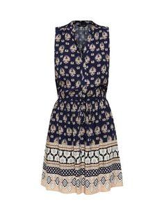 Navy Sleeveless Abstract Print Border Shirt Dress | New Look £12.99