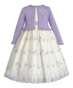 Another great find on #zulily! Ivory Floral Dress & Lilac Shrug - Girls by American Princess #zulilyfinds