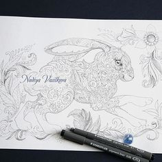 Are you waiting for a new book?!?! I'm drawing. The patterned hare. I will make different pictures. but they will all be beautiful.  Thank you so much! 💖💖💖😁 www.nadiyavasilkova.com #coloringpage #hare  #coloring #coloringbook #coloringforadults #coloringbookforadults #adultcolouring #colorfy #adultcolouringbook #coloredpencil #adultcoloringbookapp #colortherapy #colortherapyapp #mystaedtler #colorfly #nadiyavasilkova #doodling #おとなのぬりえ #inked #målarbok #instacoloring #stippling…