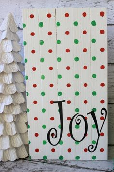 Joy Christmas Wood Sign DIY Christmas Joy Sign using Polka Dot Modern Stencils from Royal Design Studio via summerscraps and that tree Christmas Stencils, Christmas Wood, Christmas Signs, Christmas Projects, Winter Christmas, Whoville Christmas Decorations, Christmas Ideas, Grinch Christmas, Christmas Time