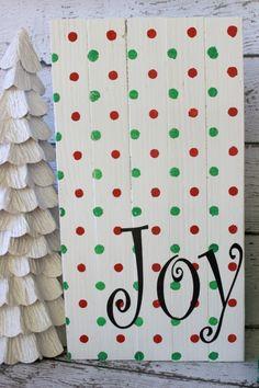 Joy Christmas Wood Sign DIY Christmas Joy Sign using Polka Dot Modern Stencils from Royal Design Studio via summerscraps