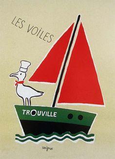 Raymond Savignac Trouville Les Voiles MANUFATTI VELE BARCHE ANIMALI FRANCIA