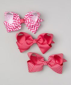 Take a look at this Hot Pink Zigzag Bow Clip Set by The Bow Lady on #zulily today!