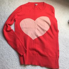 J.Crew Heart Sweater Orange heart sweater with peach colored heart in the middle from j.crew. Worn twice. J. Crew Sweaters