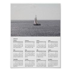 Sailing Boat on grey Sea 2015 Calendar