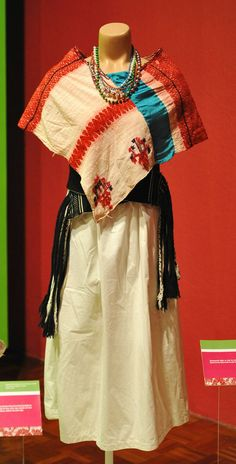 Typical clothing of a Tepehua woman from the area of Mecapalapa, Puebla, Mexico. Seen at the Museo Regional de Puebla.