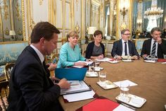 Crisis meeting in Paris between French President and German Chancellor<br>epa04834201 German Chancellor Angela Merkel (2-L) attends a crisis meeting with French President Francois Hollande (unseen) at the Elysee Palace regarding Greece, in Paris, France, 06 July 2015. The leaders met for talks on Greece in the aftermath of the referendum. EPA/ETIENNE LAURENT / POOL MAXPPP OUT
