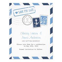 Nautical Airmail Card Save the Date Invitation-Zazzle