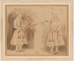 Rembrandt van Rijn, Two Indian Noblemen, ca. 1654-1656. Pen and brown ink, brown wash, with touches of red chalk wash, red and yellow chalk, some opaque white on turban and skirt of figure at right, on Japanese paper; traces of framing line in brown ink. 7 1/2 x 9 3/16 inches (191 x 234 mm). The Morgan Library & Museum