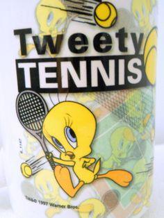 NEW 1997 Tweety Bird Coffee Mug Tennis Scenes Looney Tunes Warner Brothers