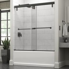 Delta Everly 60 x in. Frameless Mod Soft-Close Sliding Bathtub Door in Bronze with in. Clear - The Home Depot : Delta Everly 60 x in. Frameless Mod Soft-Close Sliding Bathtub Door in Bronze with in. Tub Shower Doors, Glass Shower Panels, Shower Door Handles, Bathtub Doors, Bathtub Shower, Bathtub With Glass Door, Sliding Glass Door, Sliding Doors, Small Bathroom
