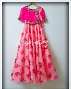 Grab this stunning floral organza dress now. Long Gown Dress, Frock Dress, Organza Dress, Anarkali Dress, Long Frock, Indian Long Dress, Indian Gowns Dresses, Floral Frocks, Floral Maxi Dress