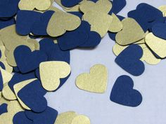500 Navy Blue Heart Confetti - Shimmery Gold Paper Hearts - Shimmery Gold Confetti - Navy Blue Wedding Decor by LucyBirdy on Etsy https://www.etsy.com/listing/281215936/500-navy-blue-heart-confetti-shimmery