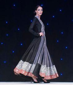 manish malhotra black silver pink anarkali indian wedding