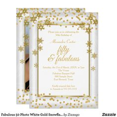 Shop Fabulous 50 Photo White Gold Snowflake party Invitation created by Zizzago. Personalize it with photos & text or purchase as is! 50th Birthday Invitations, Bachelorette Party Invitations, Quinceanera Invitations, Custom Invitations, Invites, Snowflake Party, Snowflake Photos, Snowflakes, 50th Birthday Party For Women