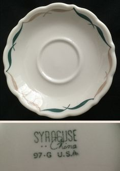 Syracuse China saucer.  Festival Pattern used by Sears Coffe House Restaurants.  Date code 97-G  (Jul 1968).