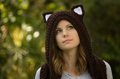 Hooded cat scarf crochet by Well-Ravelled