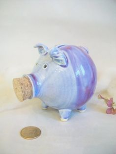 Caelan: Piggy Bank - Purple/Plum/Lavender-  Handmade on the Potters Wheel