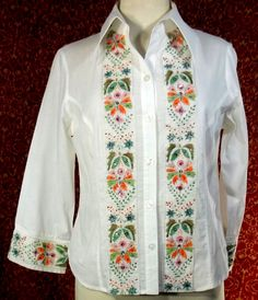 ISABEL white cotton long sleeve embroidered & beaded blouse M (T34-03H5G) #ISABEL #Blouse #Any