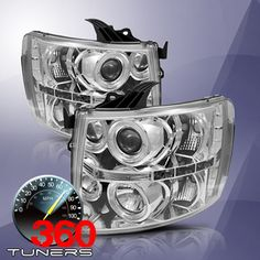 07-13 Chevy Silverado 1500/2500/3500 Halo LED Projector Headlights, with Xenon HID Lighting System - Pair (Chrome)