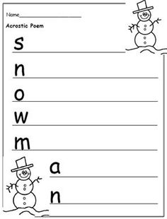 Free Printable Christmas Writing Templates to Encourage Writing: Snowman Acrostic Poem (Print PDF and See All Worksheets Below) Christmas Writing, Kids Writing, Writing Ideas, Creative Writing, Acrostic Poem For Kids, Acrostic Poems, Sequencing Worksheets, Story Sequencing