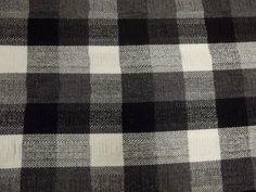 Vintage Black White and Gray BUFFALO PLAID GINGHAM Coarse Open Weave Gathered Puckers Cotton Linen