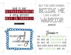A FREE printable!! Put them up where ever you'll see them. I have them in the office, kitchen, taped to the bathroom mirror & one in my car. Before you know it the words on those cards will be words in your heart to be pulled up any time the anxiety pit tries to drag you under. Enjoy them & may they provide hope to face what's ahead without worrying.