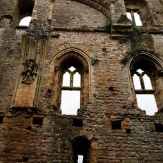 Windows inside Chepstow Castle the oldest surviving stone fortification in Great…