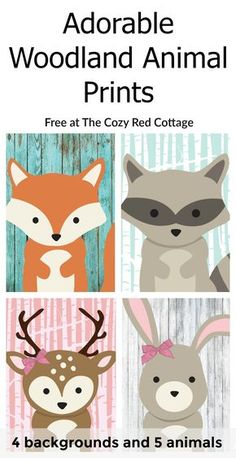Free Woodland animal printables. Cute forest animals.
