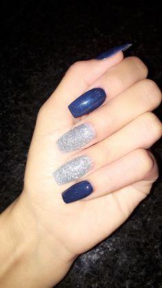 Dallas Cowboys Nail Designs, Dallas Cowboys Nails, Coffin Nails, Acrylic Nails, Cowboy Nails, Blue Nail Designs, Finger Nails, Square Nails, Some Girls
