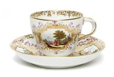 Meissen Topographical Cup and Saucer, Marcolini