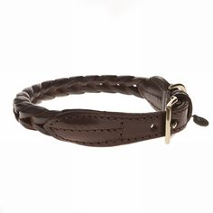 "Plaited Leather Dog Collar Chocolate 17""-19"" - Mungo & Maud Dog and Cat Outfitters"