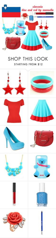 """""""Slovenia Eurovision 2016"""" by grace-buerklin ❤ liked on Polyvore featuring Love Moschino, Emi Jewellery, Moschino, NARS Cosmetics, Essie, Mawi, Urban Decay, Slovenia and eurovision2016"""