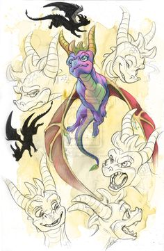 Spyro character, fan art -- Spyro 'Spressions by DaffoDille on deviantART