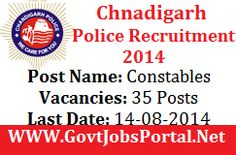 Chandigarh Police Recruitment for Constable Posts 2014