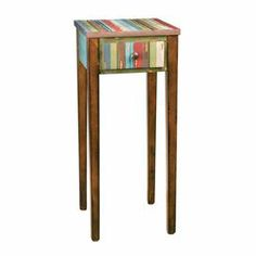 "Weathered wood nightstand with one drawer and multicolor striping.     Product: Nightstand  Construction Material: Wood   Color: Multi  Features:  Charming design  Will enhance any space       Dimensions: 30"" H x 13"" W x 13"" D"