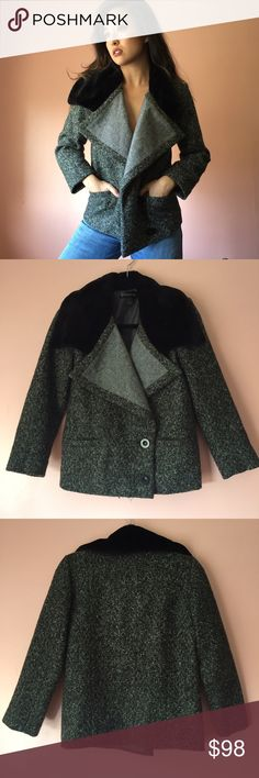 Nasty Gal Faux Fur Collar Tweed Jacket Fight the brrr in this tweed coat from Nasty Gal. Features a super soft faux fur black collar, foldover lapels, long sleeves, charcoal, black and olive tweed, double button closure and pockets. Wear over jeans and a sweater or an evening look. MSRP $185. New without tags. Fits true to size small. No returns allowed. Please ask all questions before buying. IG: [at] jacqueline.pak #nastygal Nasty Gal Jackets & Coats