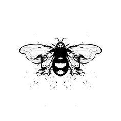 Bee Black  Honey Bee  Honey Bee Blue  print from original