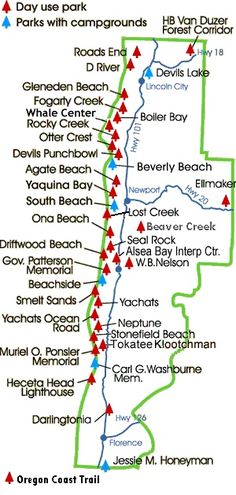 Oregon Parks along the Oregon Coast Trail - details which have campgrounds