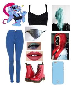 """undyne undertale"" by chilcotea201 ❤ liked on Polyvore featuring Dolce&Gabbana, Topshop, Dr. Martens, Fiebiger and Tory Burch"