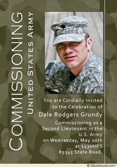 Duty, Honor, Country.   This army commissioning invitation or ROTC graduation card can be customized with a plain background in a color of your choice.