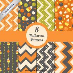 Halloween abstract patterns Premium Vector