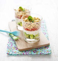 Crumble estival tomate concombre en verrines - Ôdélices : Recettes de cuisine faciles et originales !