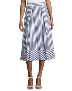 Shop Pleated Striped Poplin Midi Skirt, Multi from Milly at Neiman Marcus Last Call, where you'll save as much as on designer fashions. Box Pleat Skirt, Pleated Midi Skirt, Stripe Skirt, Diva Fashion, Skirt Fashion, Luxury Fashion, A Line Skirts, Poplin, Clothes For Women