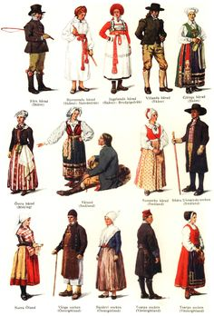 Culture of Sweden -Traditional Swedish national costumes according to Nordisk Familjebok. Scandinavian Countries, Scandinavian Folk Art, Scandinavian Embroidery, Sweden Costume, Lappland, Stockholm, Danish Culture, Costumes Around The World, Paper Dolls Book