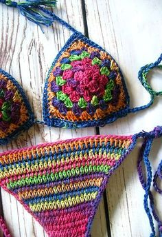 Crochet bikini Crochet swimwear Crochet bathing suit by MarryG - BikinisHäkeln Sie Bikini Häkel Bademode Badeanzug gehäkelt Crochet Source byThis crochet bikini set is a celebration of the bohemian style. Colors, pattern, tassels - there isToddler summ Motif Bikini Crochet, Crochet Bikini Bottoms, Bikini Pattern, Crochet Granny, Crochet Baby, Knit Crochet, Top Pattern, Patron Crochet, Crotchet