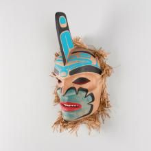 Killer Whale mask in red cedar by Coast Salish artist Yul Baker