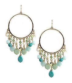Lauren by Ralph Lauren Green Valley Turq Beaded Hoop Earrings | Dillards.com